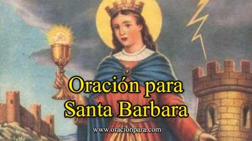 Oración a Santa Bárbara